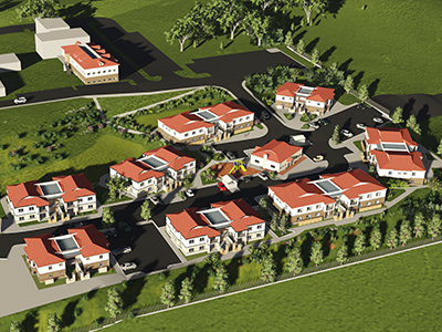 Digital rendering of new housing village